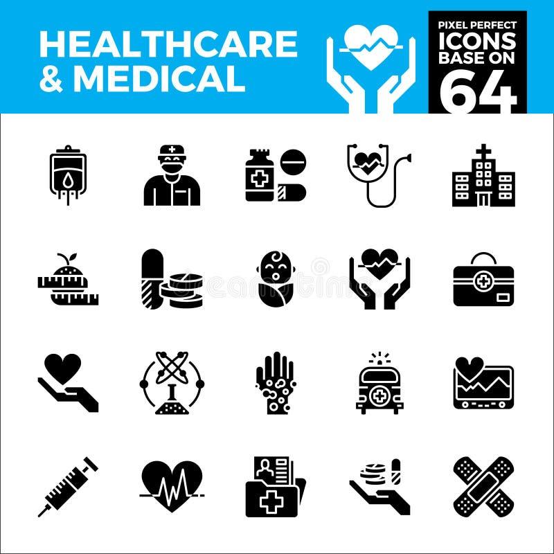 Gezondheidszorg en medische pixel perfecte pictogrammen vector illustratie