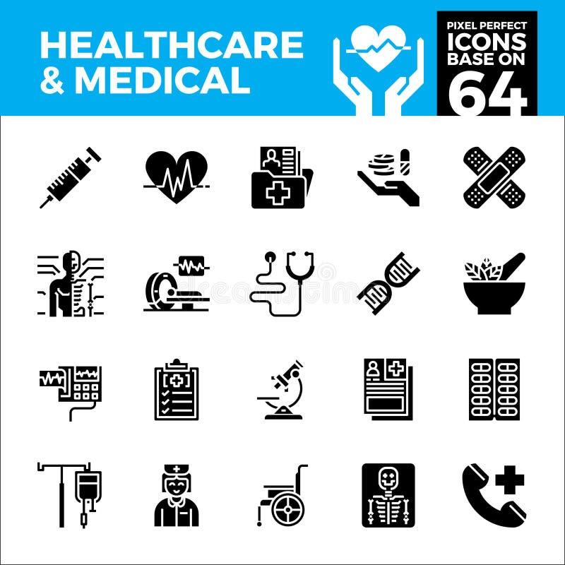 Gezondheidszorg en medische pixel perfecte pictogrammen royalty-vrije illustratie