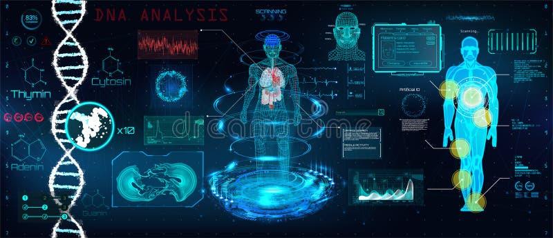 Gezondheidszorg futuristisch aftasten in HUD-stijlontwerp stock illustratie