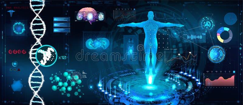 Gezondheidszorg futuristisch aftasten in HUD-stijlontwerp vector illustratie