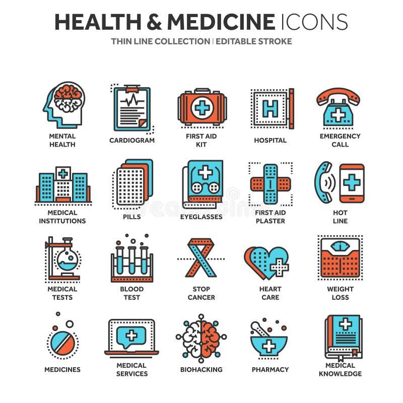 Gezondheidszorg, geneeskunde Eerste hulp Medische bloedonderzoeken en kenmerkend Hartcardiogram Pillen en drugs Dun lijnweb vector illustratie