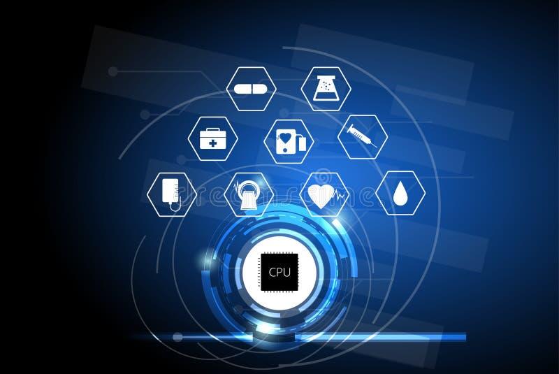 Gezondheidszorg in het digitale tijdperk, concept het met computer van het zorgnetwerk stock illustratie
