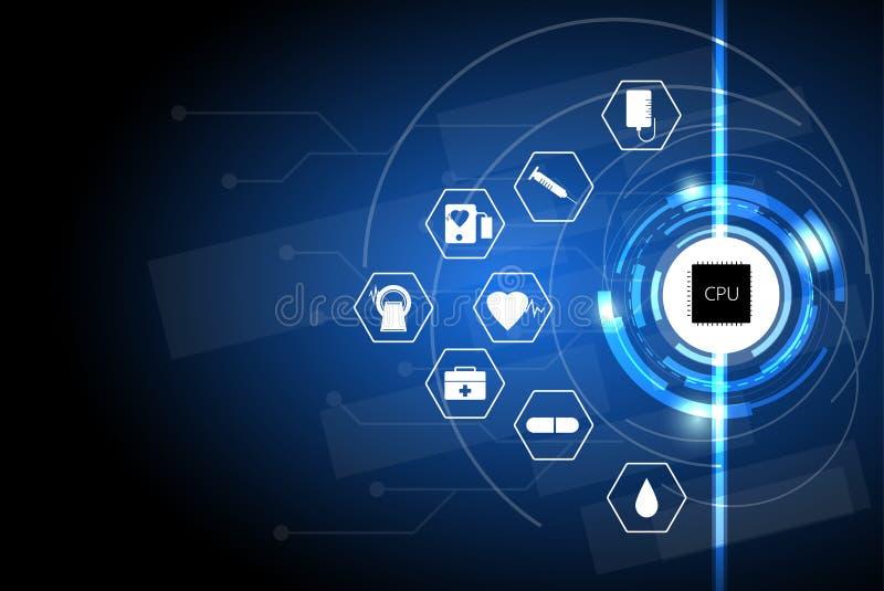 Gezondheidszorg in het digitale tijdperk, het conceptengezondheidszorg met computer van het zorgnetwerk in het digitale tijdperk, stock illustratie