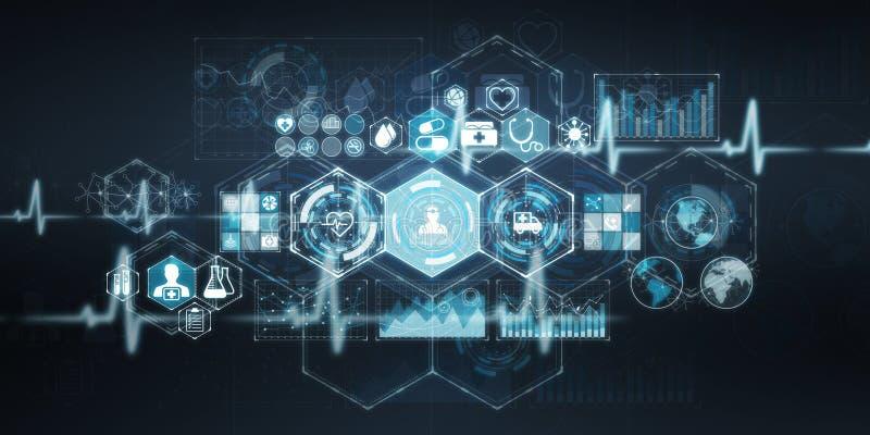 Gezondheidszorg het moderne interface 3D teruggeven vector illustratie