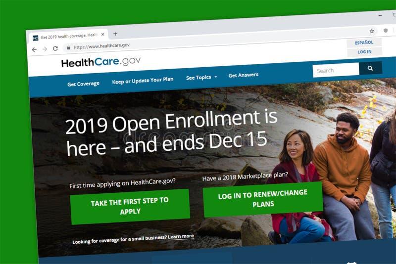 Gezondheidszorg home page van de de inschrijvingswebsite van regering 2019 de open om voor Obamacare-gezondheidszorg van toepassi stock foto's
