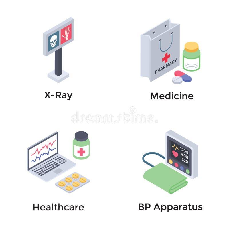 Gezondheidszorg Isometrische Pictogrammen royalty-vrije illustratie