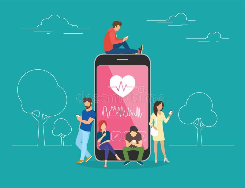 Gezondheidszorg mobiele app conceptenillustratie royalty-vrije illustratie
