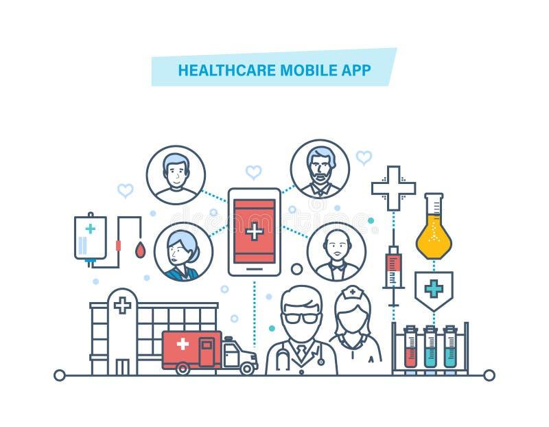 Gezondheidszorg mobiele app De mobiele dienst Medische gezondheidszorg, geneeskunde mobiele adviseur stock illustratie