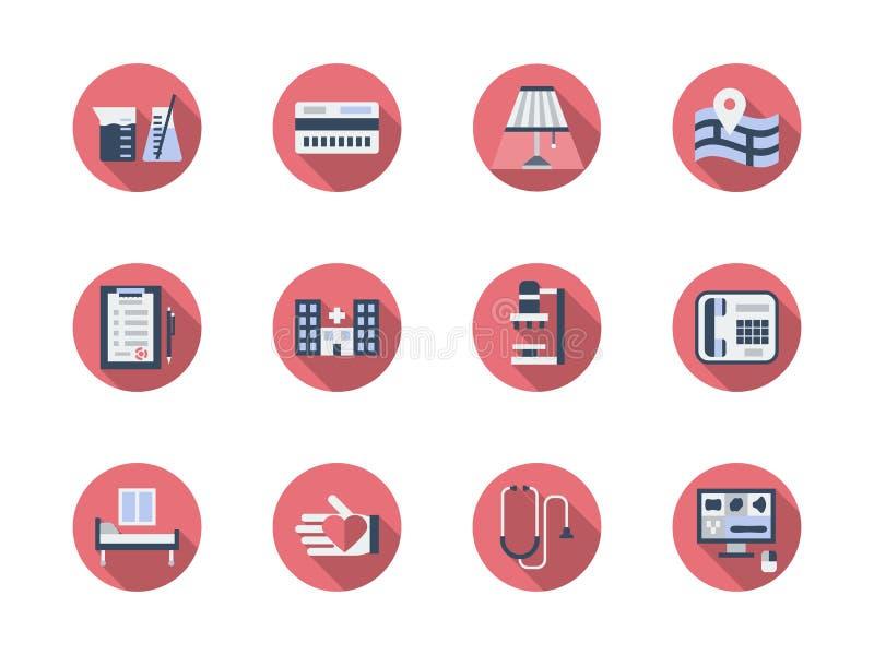 Gezondheidszorg om geplaatste kleurenpictogrammen royalty-vrije illustratie