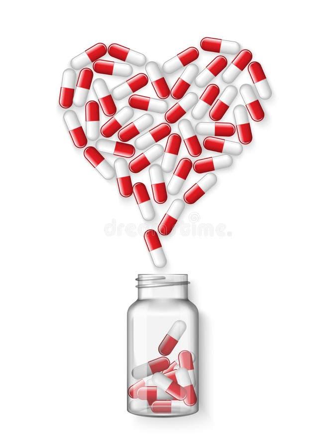Gezondheidszorg van hart Medische banner Vector realistische geopende medische plastic fles met tablettenpillen, tabletten stock illustratie