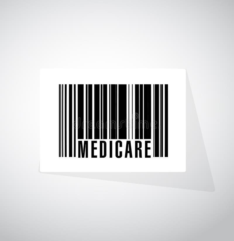 Gezondheidszorg voor bejaarden-het conceptenillustratie van het streepjescodeteken royalty-vrije illustratie