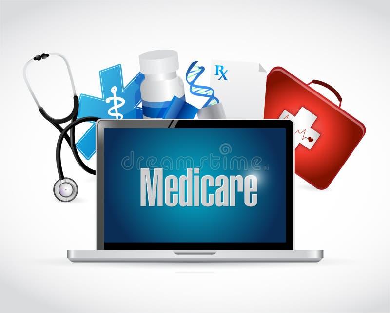 Gezondheidszorg voor bejaarden-het tekenconcept van de gezondheidstechnologie royalty-vrije illustratie