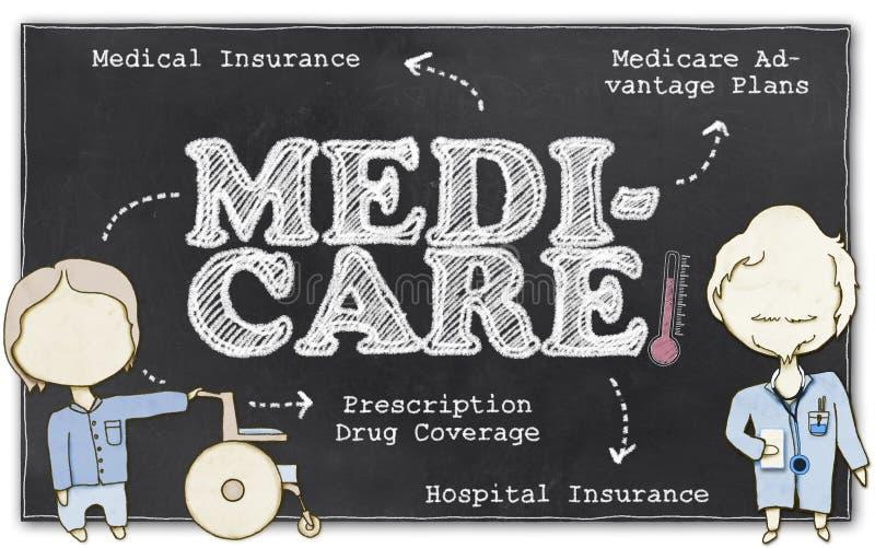 Gezondheidszorg voor bejaarden met het Knippen van Weg royalty-vrije illustratie