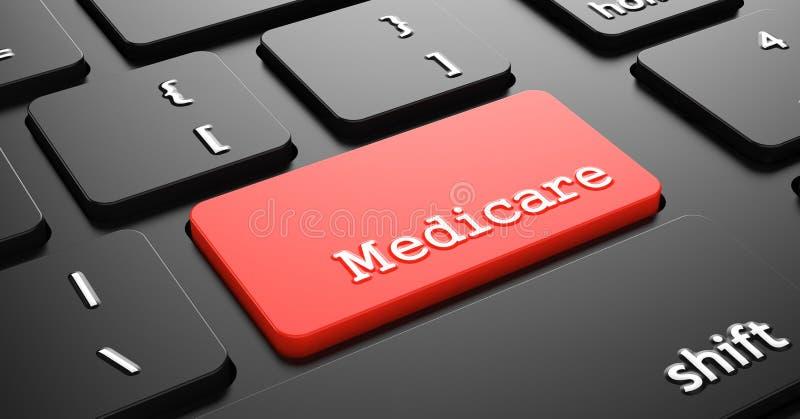 Gezondheidszorg voor bejaarden op Rode Toetsenbordknoop stock illustratie