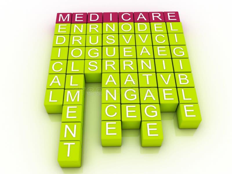 Gezondheidszorg voor bejaarden-Word Wolkenconcept vector illustratie