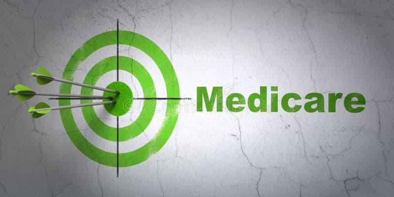 Gezondheidszorgconcept: doel en Gezondheidszorg voor bejaarden op muurachtergrond stock illustratie