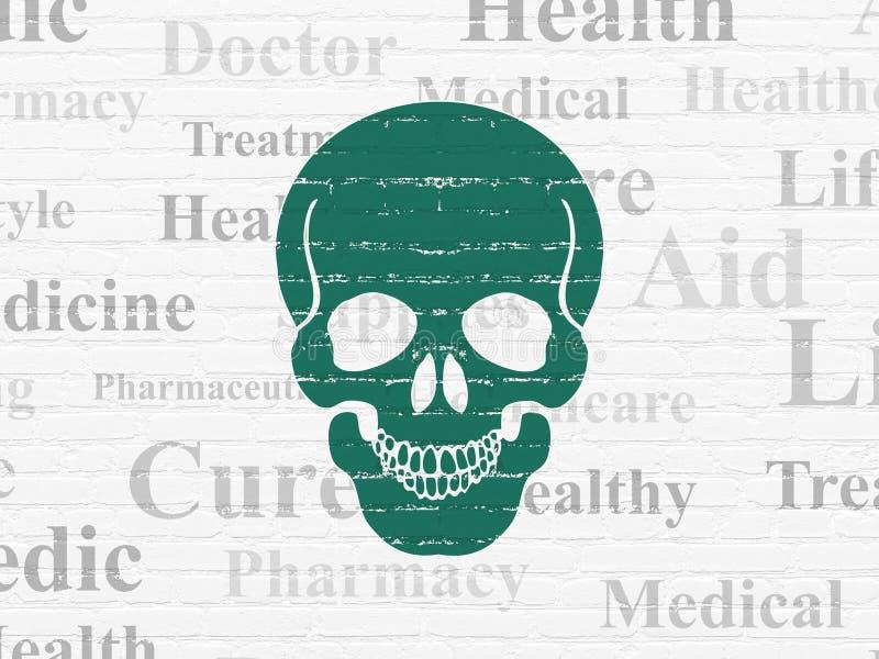 Gezondheidszorgconcept: Scull op muurachtergrond vector illustratie