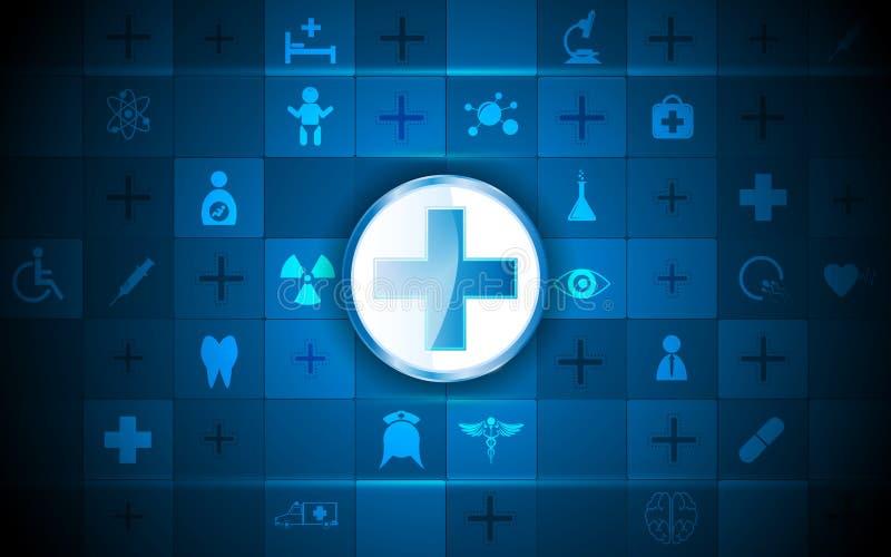 Gezondheidszorgembleem en medische het patroonachtergrond van de pictogramrechthoek royalty-vrije illustratie
