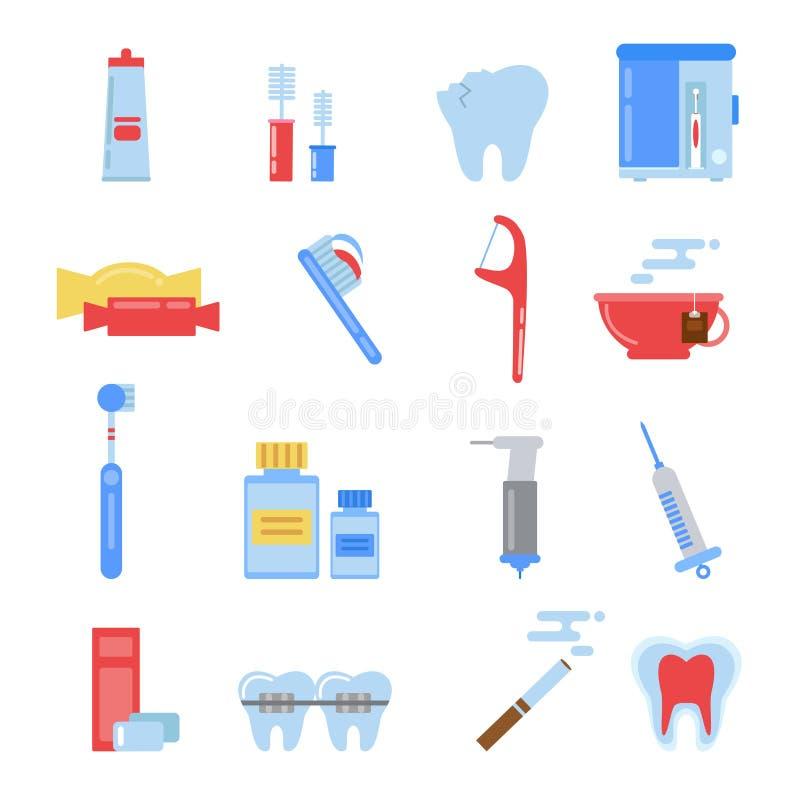 Gezondheidszorgillustraties in vlakke stijl Tand verschillende geplaatste pictogrammen Tand, mond en andere specifieke beelden royalty-vrije illustratie