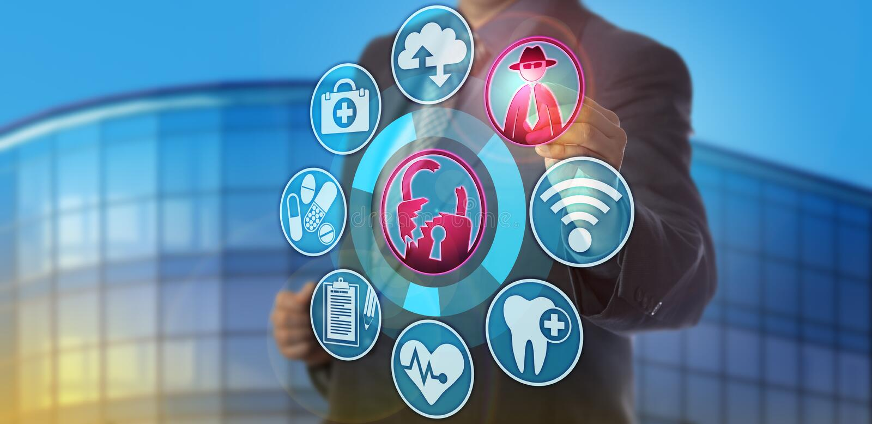 Gezondheidszorgmanager Spots Confidentiality Breach stock afbeelding