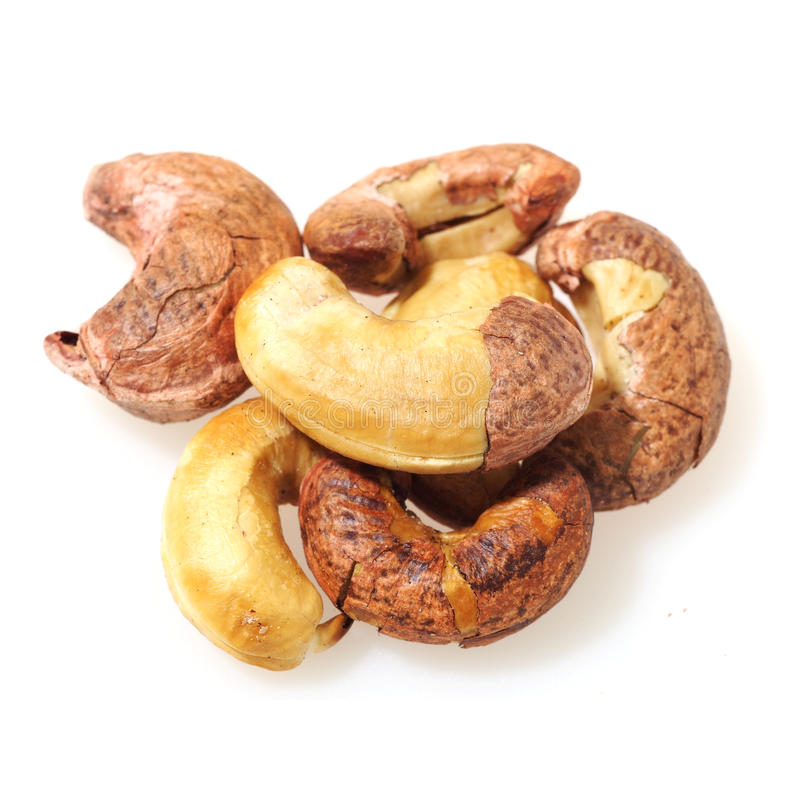 Gezouten die cashewnoot op witte achtergrond wordt geïsoleerd royalty-vrije stock afbeelding