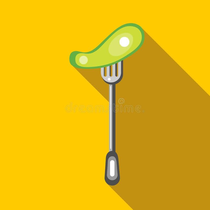 Gezouten komkommer op een vorkpictogram, vlakke stijl stock illustratie