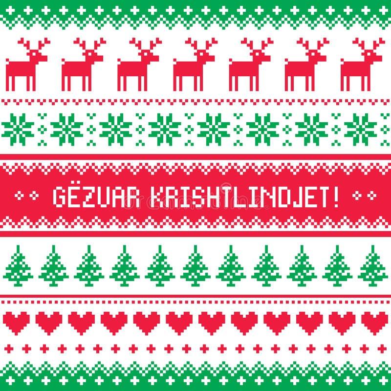 Gezuar Krishtlindjet - de Winter rode en groene gretting kaart, voor het vieren van Kerstmis in Albanië - Skandinavisch stijlpatr royalty-vrije illustratie