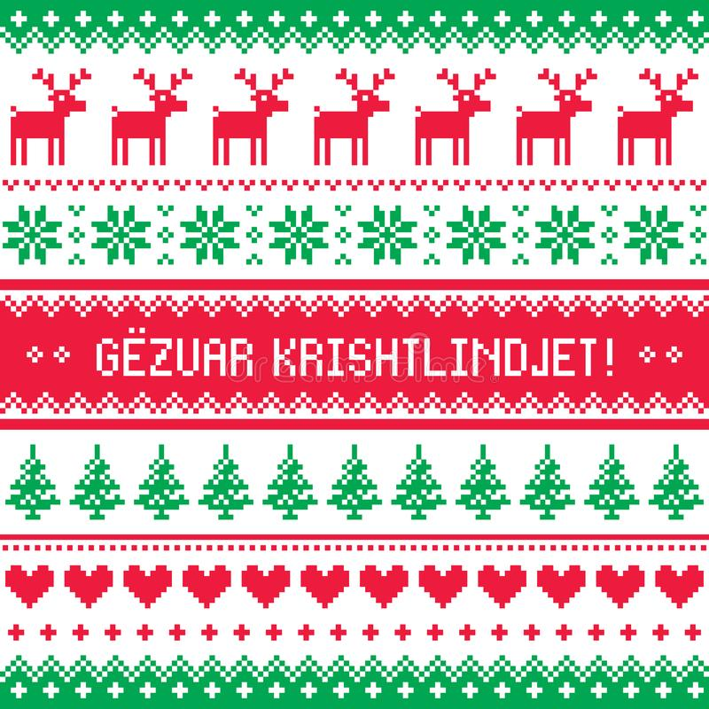 Gezuar Krishtlindjet - Winter red and green gretting card, for celebrating Christmas in Albania - Scandinavian style pattern royalty free illustration