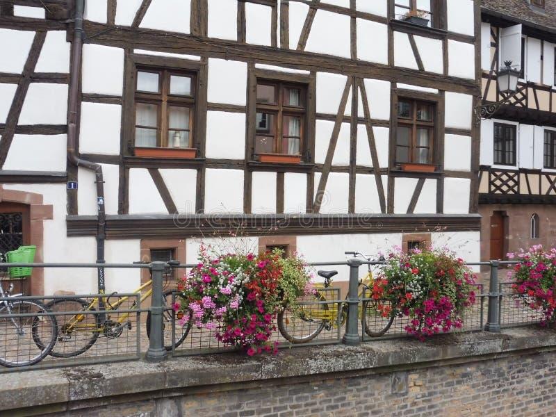 12 67 2000 07 GF Strasbourg Petite France. Immeubles Alsace Europe Arbre Histoire Lampadaire Promenade Vélo Fleurs Rouge Blanche royalty free stock image