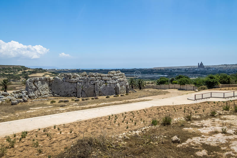 Ggantija σύνθετες καταστροφές μεγαλιθικών μνημείων ναών νεολιθικές - Gozo, Μάλτα στοκ εικόνες