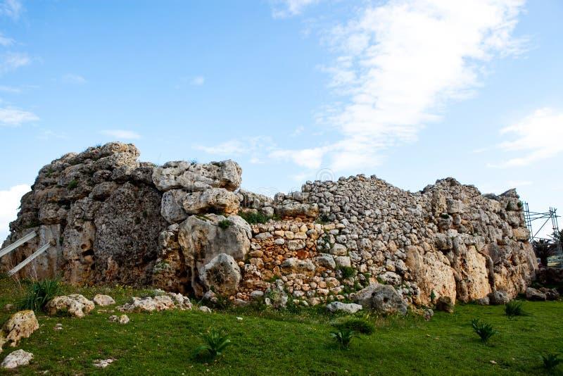 Ggantija Tempel bleibt in Gozo stockfotografie