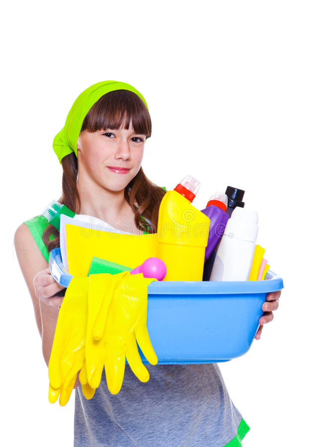 Ggirl klaar voor de lente het schoonmaken royalty-vrije stock afbeeldingen