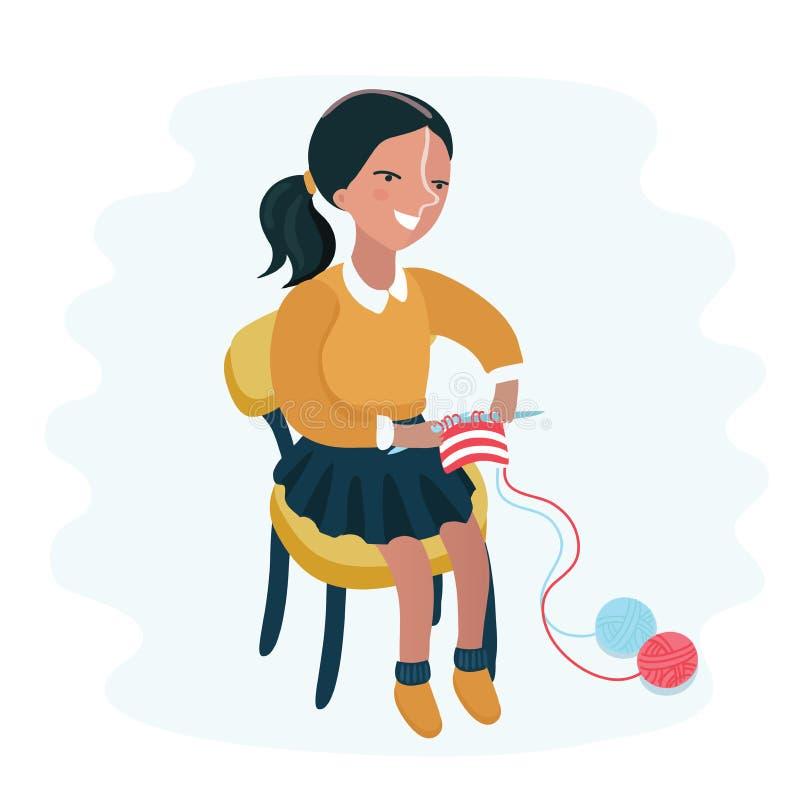 Ggirl que hace punto lindo stock de ilustración