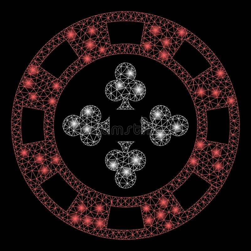 Ggloeiende 2D Poker Casino Chip met Flare Spots vector illustratie