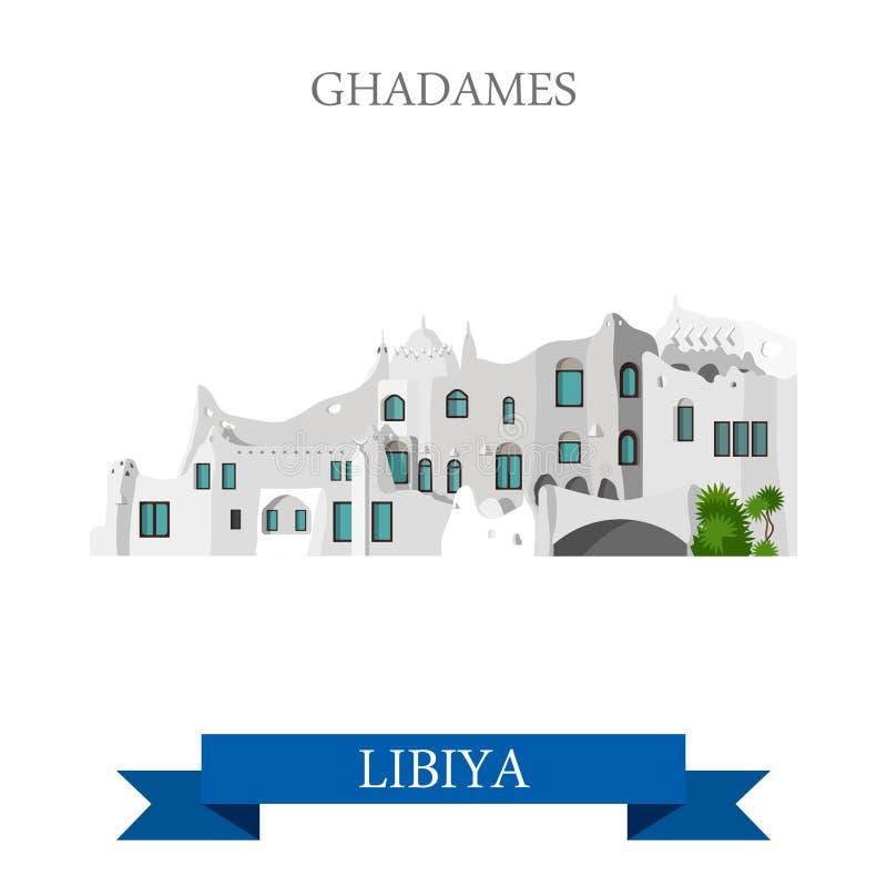 Ghadames en señales planas de la atracción del vector de Libia libre illustration