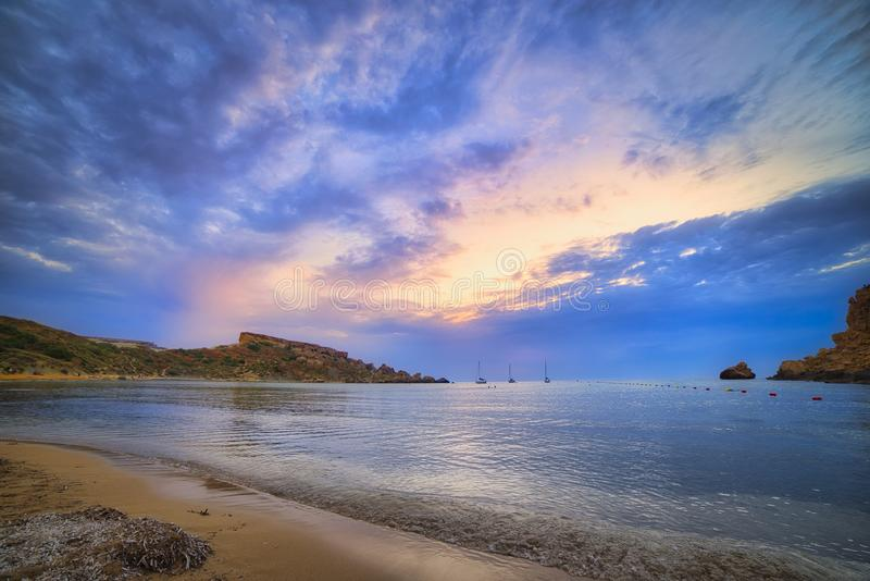 Ghajn Tuffieha beach, Malta royalty free stock photos