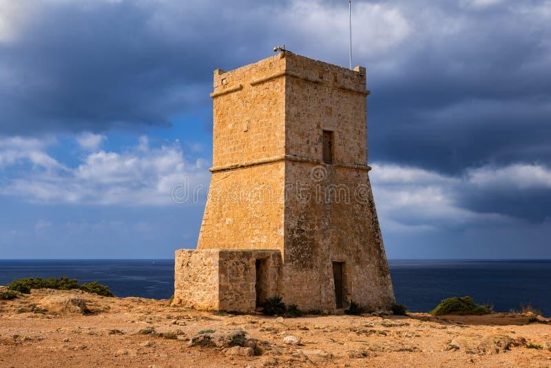 Ghajn Tuffieha Tower in Malta stock photos