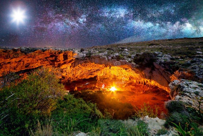 Ghajn Tuta Cave by Night stock photography
