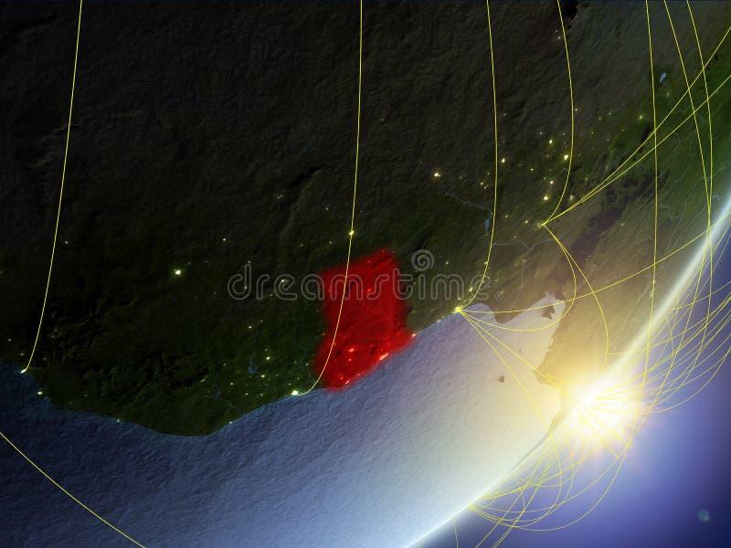 Ghana auf Modell von Planet Erde mit Netz während des Sonnenaufgangs Konzept der neuen Technologie, der Kommunikation und der Rei stockfotos