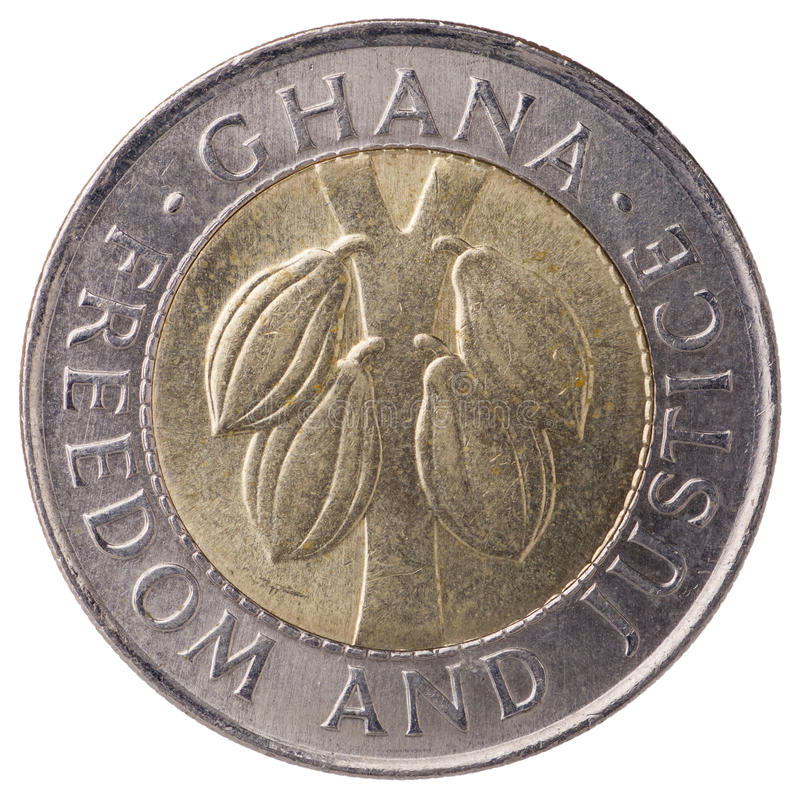 100 Ghana cedis (second cedi) coin, 1999, face. With inscription: Ghana, Freedom and Justice royalty free stock photo