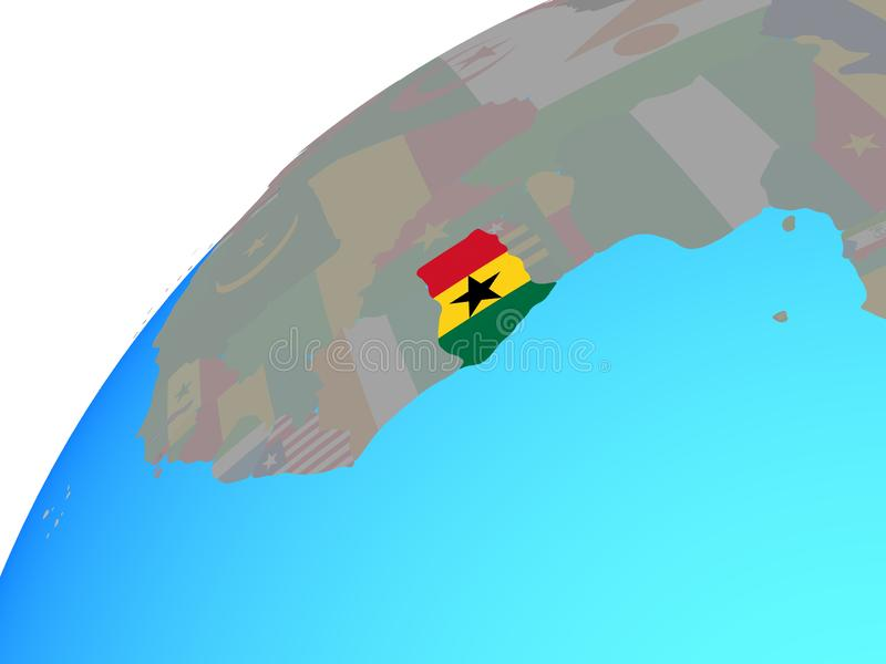 Ghana con la bandera en el globo libre illustration