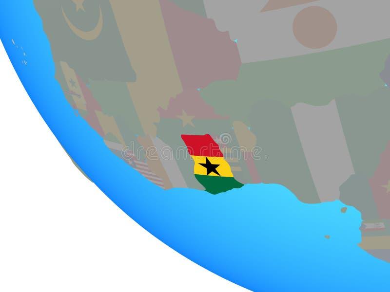 Ghana con la bandera en el globo stock de ilustración