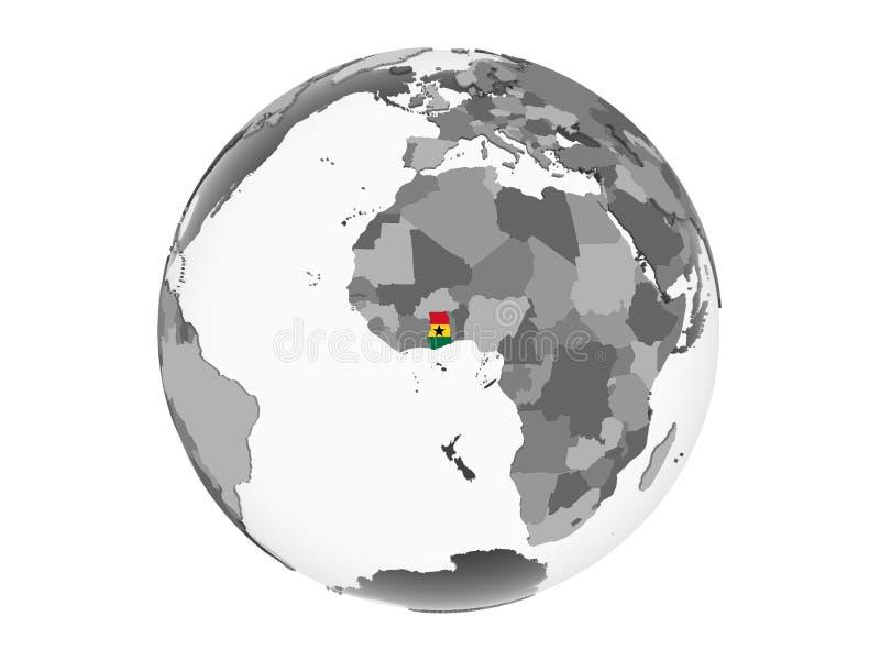 Ghana con la bandera en el globo aislado stock de ilustración