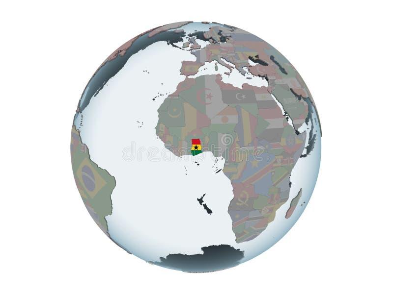 Ghana con la bandera en el globo aislado libre illustration