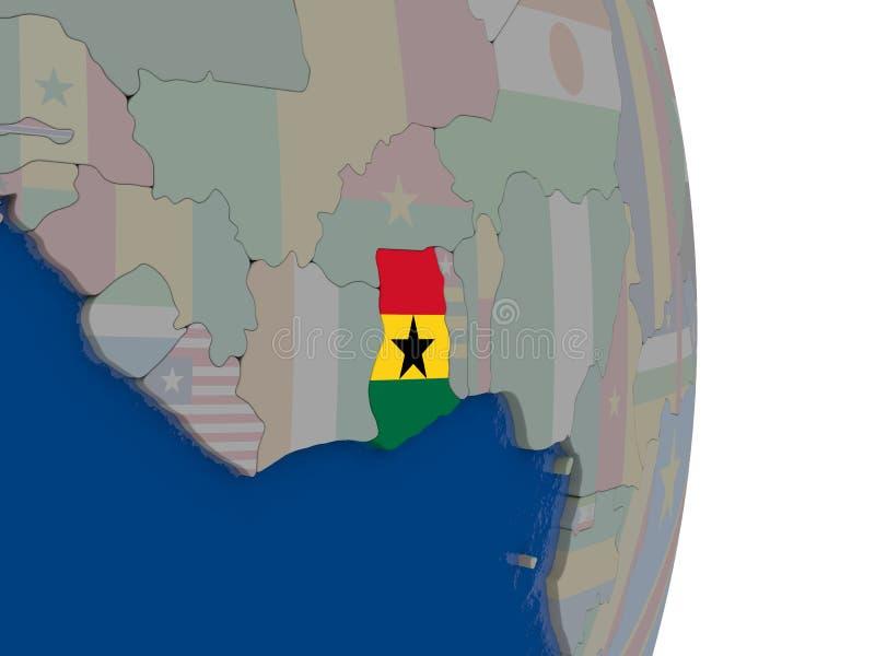 Ghana con su bandera ilustración del vector