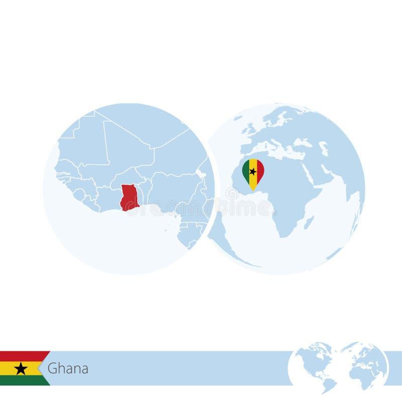 Ghana en el globo del mundo con la bandera y el mapa regional de Ghana stock de ilustración