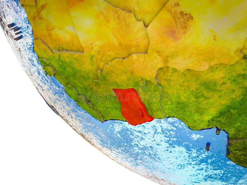 Ghana en la tierra 3D ilustración del vector