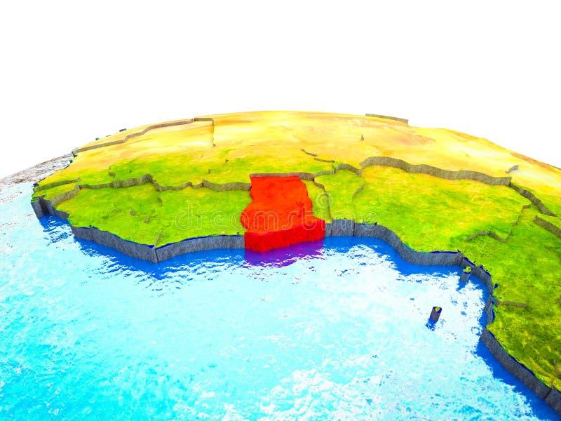 Ghana en la tierra 3D stock de ilustración