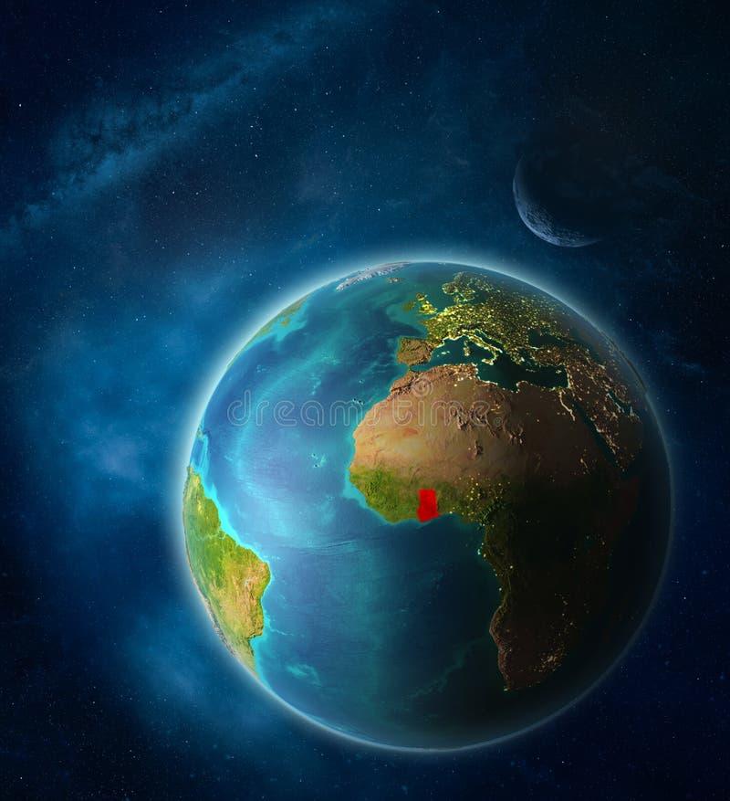 Ghana en la tierra del espacio ilustración del vector