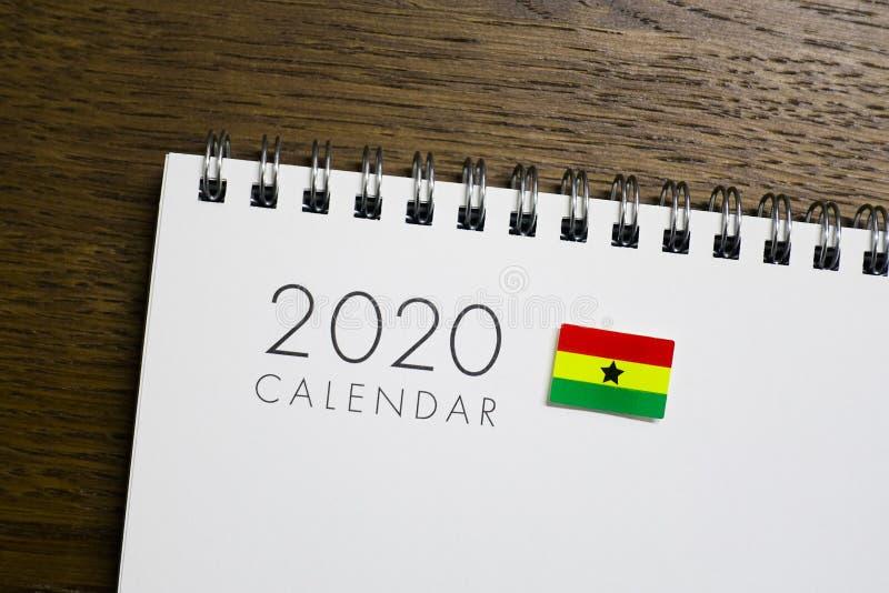 Ghana flaga na 2020 kalendarzu obrazy stock